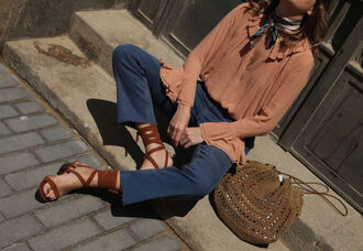 my daily style blogger blouse jeans scarf sunglasses bag shoes top