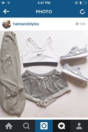 shorts,sportswear,grey,short,top,cardigan,sports shorts
