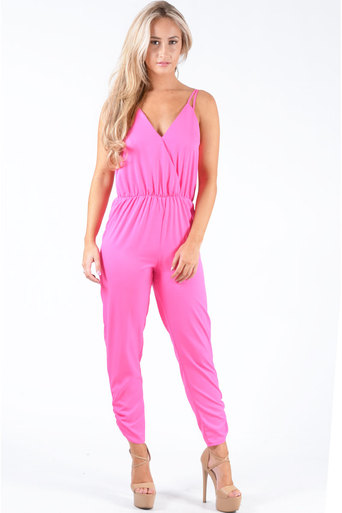 Ladies Richmond Cross Over Chiffon Strappy Jumpsuit In Neon Pink at Pop Couture UK