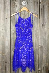 dress,blue dress,lace dress,crochet,royal blue,tube dress,dressy,classy,prom dress