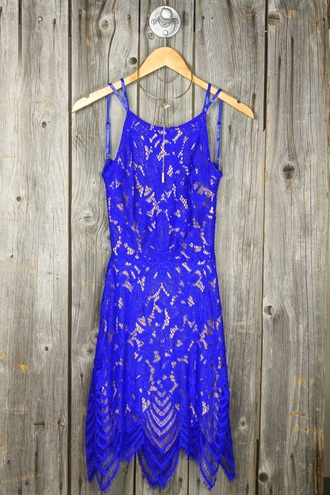 dress blue dress lace dress crochet royal blue tube dress dressy classy prom dress