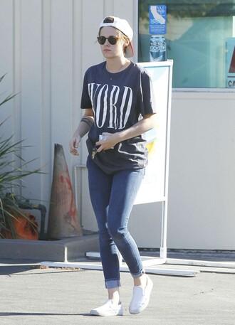 t-shirt top kristen stewart jeans