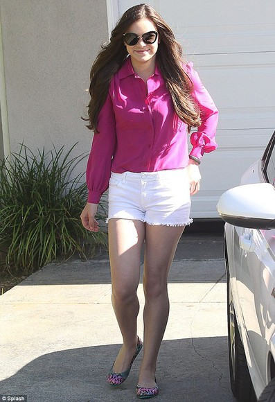 hailee steinfled blouse celebrity fuchsia hotpink chiffon top pink longsleeves longsleeved clothes