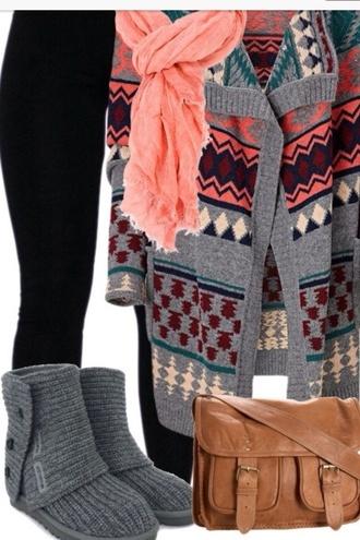 bag brown bag coat shoes pants scarf