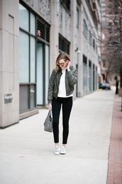 see jane,blogger,jeans,shoes,sunglasses,bag,handbag,grey bag,bomber jacket,green bomber jacket,skinny jeans,sneakers