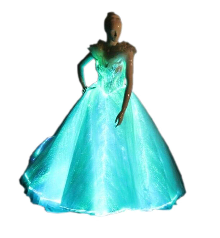 Light Up Evening Dress Glow-In-The-Dark Wedding Dress Luminous Fiber ...