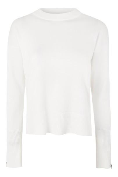 sweatshirt zip white sweater