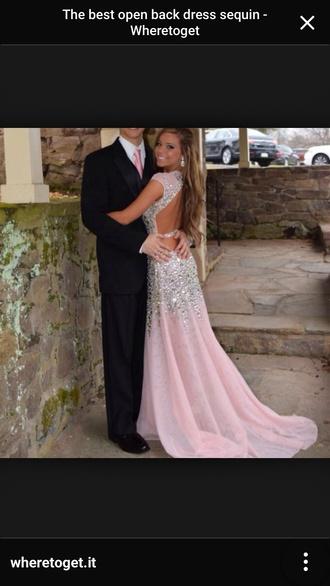 dress pale pink dress prom dress sequin dress sheer dress