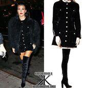 dress,black,black dress,winter outfits,winter dress,storets,velvet,velvet dress,kourtney kardashian,celebrity style