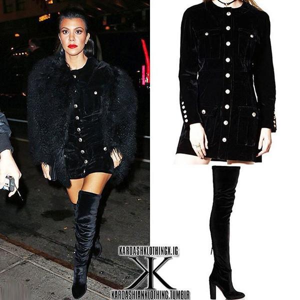 dress black black dress winter outfits winter dress storets velvet velvet dress kourtney kardashian celebrity style