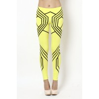 OMG Geometric Print Leggings- Neon Yellow/ Black - DESIGN LEGGINGS - LEGGINGS