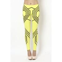 OMG Geometric Print Leggings- Neon Yellow/ Black - DESIGN LEGGINGS - LEGGINGS