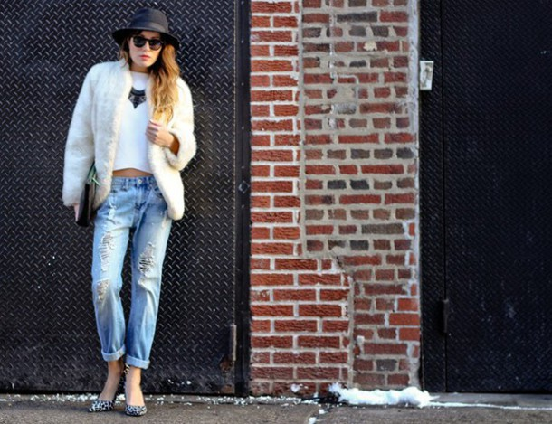 the marcy stop blogger hat jewels ripped jeans coat sweater jeans bag shoes
