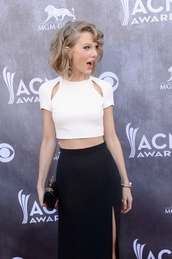 shirt,white,crop tops,taylor swift,acms,skirt