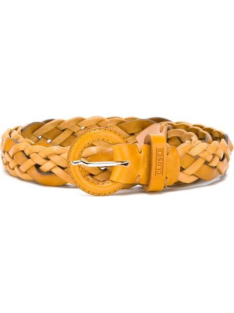 Closed woven belt, Women's, Size: 85, Yellow/Orange, Leather
