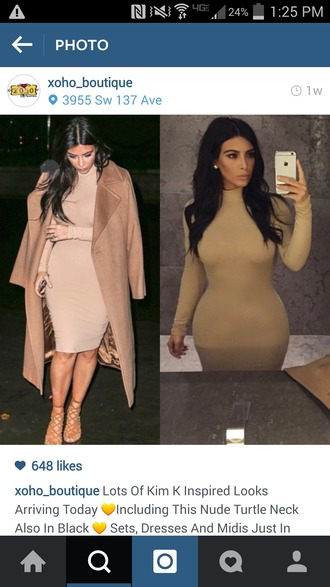 kim kardashian camel coat bodycon dress coat dress