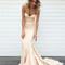 Light champagne satin mermaid long prom dress, evening dress - 24prom