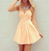 dress,peach dress,cocktail dress,sexy dress,party dress,strapless dress,blonde hair,pink dress