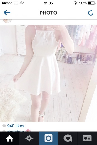 dress skater dress white white dress halter neck halter dress kawaii dress cute dress