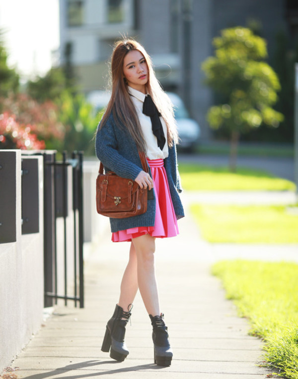 chloe ting skirt bag shirt cardigan shoes