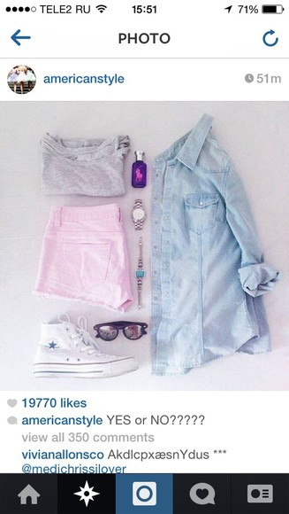 pink pink shorts denim shirt converse