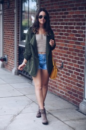 fashionably kay,blogger,jacket,shorts,shoes,sunglasses,nude top,beige,denim shorts,green jacket,crop tops,ankle boots,grey boots,yellow bag,yellow