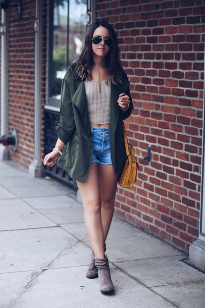 fashionably kay blogger jacket shorts shoes sunglasses beige denim shorts green jacket crop tops ankle boots grey boots yellow bag yellow