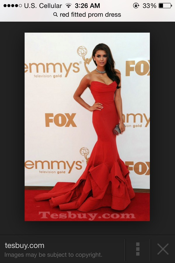 red dress long dress mermaid prom dress
