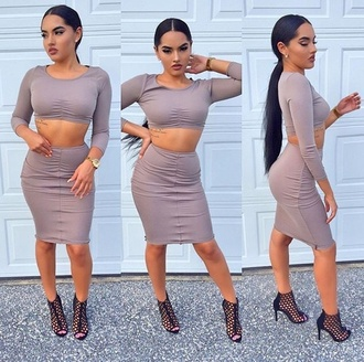 dress brown two piece bodycon