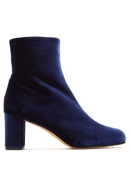 MARYAM NASSIR ZADEH heel velvet ankle boots ankle boots velvet blue shoes