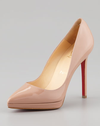 Christian Louboutin Pigalle Plato Patent Platform Red Sole Pump, Nude - Neiman Marcus