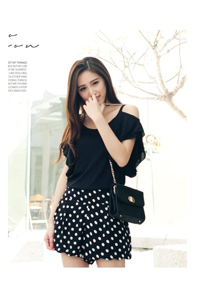 (TOBTM0141) Black Dotted Shorts, iAnyWear