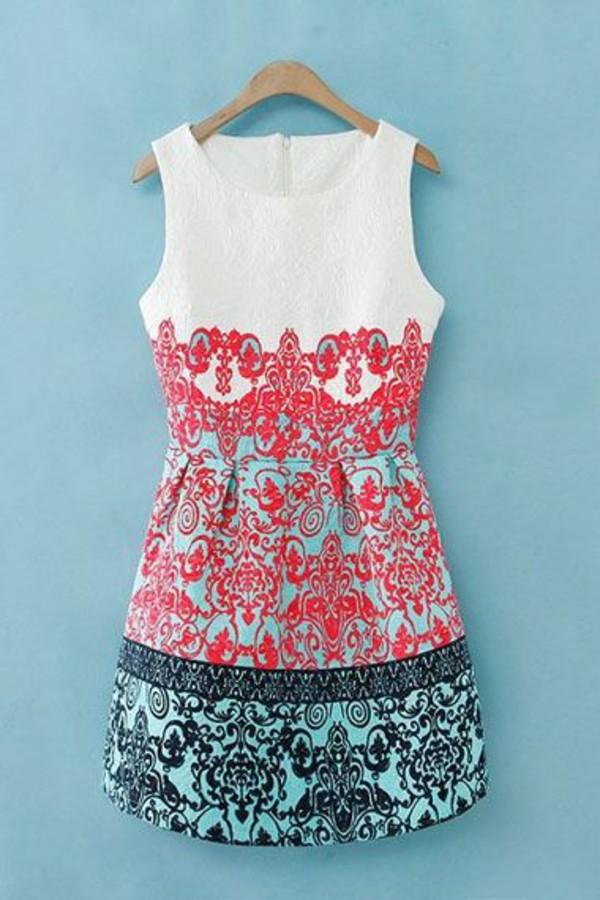 print aqua navy classy chic sleeveless dress