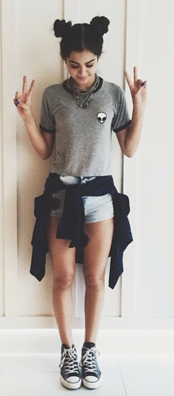 blouse shirr grey grey shirt rad alien tumblr outfit clothes shoes jewels t-shirt
