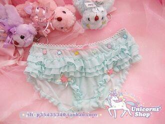 underwear lingerie ruffle ruffled underwear pastel kawaii pastel blue baby pink baby blue gyaru hime gyaru lolita panties mint cute underwear cute sweet dd dd/lg daddy kinky kink bow pink pastel pink stars