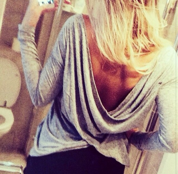 blouse grey lowcut open back low back long sleeves