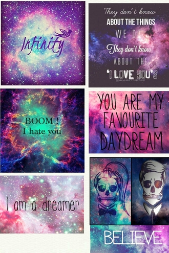 home accessory galaxy print quote on it