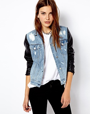 Mango | Mango Leather Look Sleeve Denim Jacket at ASOS