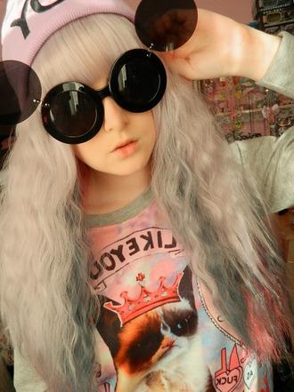 sunglasses round sunglasses grumpy cat sweater pullover soft grunge streetstyle harajuku internet meme hat beanie yolo japanese korean fashion