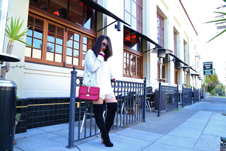ktr style blogger top bag lace thigh high boots pink