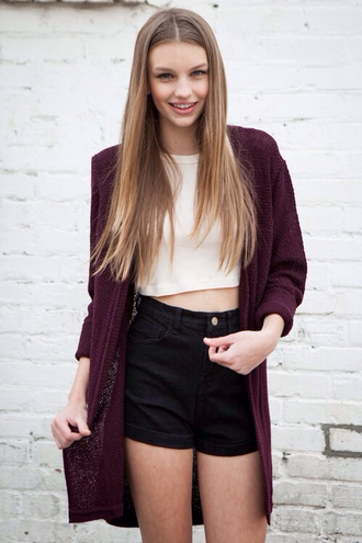 shorts black shorts high waisted shorts cartigant burgundy top crop white white crop tops sweater