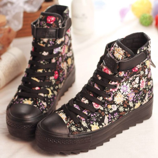 shoes floral high top flatform sneakers