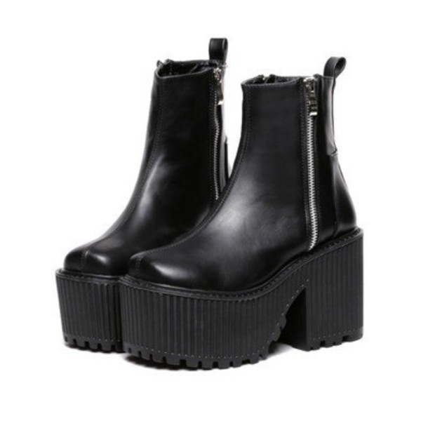 shoes black boots biker unif zip plateau platform shoes indie grunge goth goth. Black Bedroom Furniture Sets. Home Design Ideas