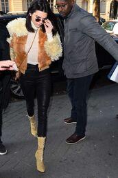 jacket,fur,kendall jenner,ankle boots,pants,top,turtleneck,streetstyle,fashion week 2017,fashion week