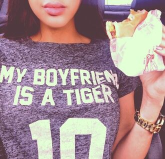 shirt my ta her tiger print shit top dark blue short sleeves summer outfits fast food jersey gray grey gray shirt grey shirt shirt white crop top t-shirt my boyfriend is a tiger grey t-shirt t-shirt t-shirt with print boyfriend tshirt swag streetstyle girly