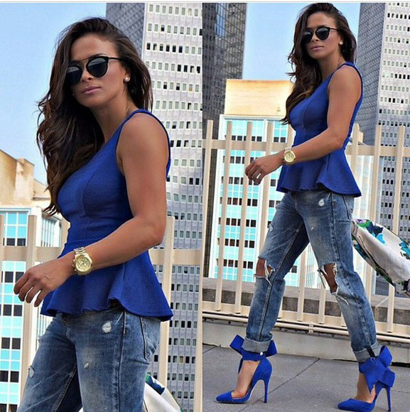 blue shirt fashion style top jeans shoes blue high heels