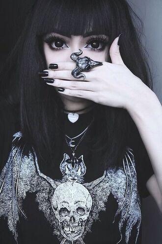 shirt skull bat skelton black and white jewels