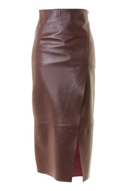 skirt wrap skirt leather burgundy