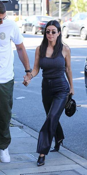 romper top tank top kourtney kardashian kardashians streetstyle pants wide-leg pants