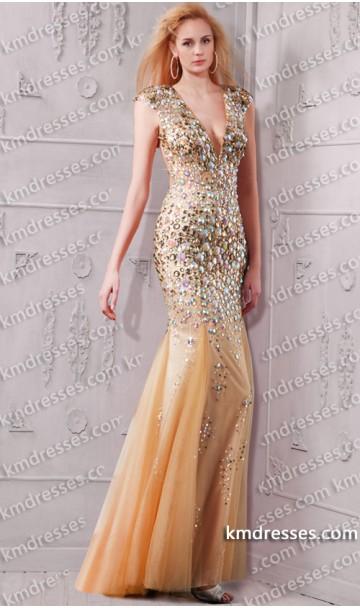 marvelous fully beaded plunging V neck open back mermaid gown